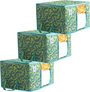 Kuber Industries Metalic Printed 3 Piece Non Woven Underbed Storage Bag,Storage Organiser,Blanket Cover with Transparent Window,Extra Large, Green CTKTC34453