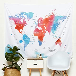 World Map Tapestry - Colorful Watercolor, Splatter Art Designs - Abstract Painting, Boutique Tapestries - Modern,Vintage, Hanging GlobeTapestries - Decorative Pieces for Living Room Walls