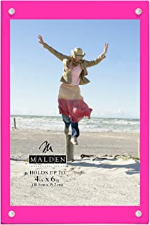 Malden International Designs Infinity Bright Pink Wood Block with Magnetic Acrylic Front Picture Frame, 4x6, Pink