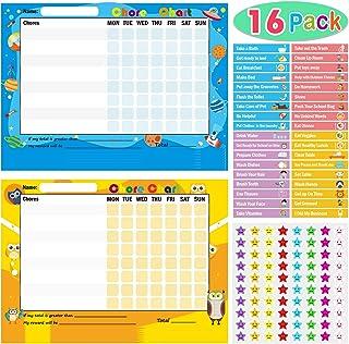 Pack of 16 Chore Reward Chart for Kids, Yoklili Teach Children Responsibility & Good Behavior Chart for Home Classroom, In...