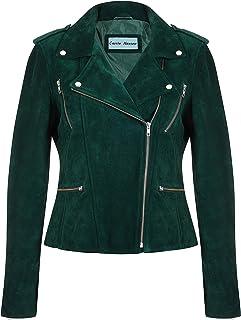 Giacca da Donna in Pelle da Motociclista Giacca Casual Moda Classica in camoscio Verde 7113-A