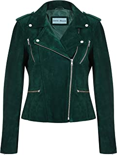 Carrie CH Hoxton Women's Leather Jacket Green Suede Classic Casual Fashion Biker Style 7113-A