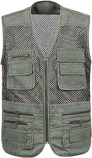 Gihuo Men's Mesh Quick Dry Multi Pockets Summer Outdoor Travel Vest