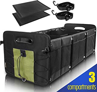 GEEDAR Trunk Organizer for Car SUV Trunk Organizers and Storage [3 Large Compartments] Collapsible Portable Non-Slip Bottom with Tie Down Straps (Green)
