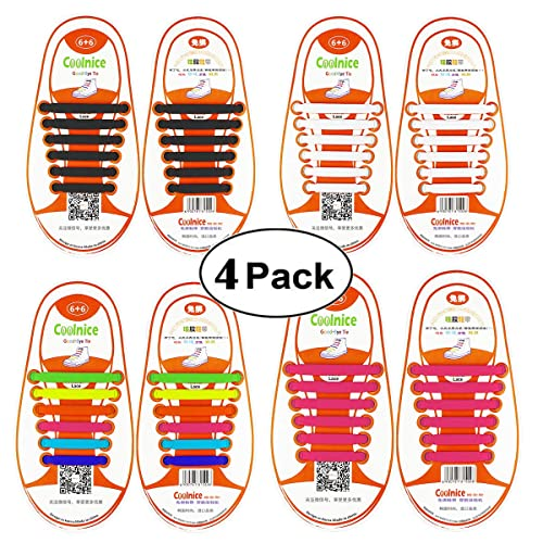 Shackcom No Tie Flat Elastic Shoelaces 4 Packs for Kids or Youth, Waterproof and Stretchy