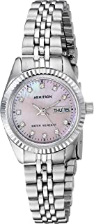 Armitron Women's Crystal Accented Silvertone Pink Mother of Pearl Dial Watch