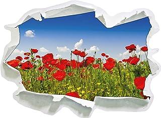 Champ de Coquelicots, Taille Sticker Mural 3D en Papier: 92x67 cm décoration Murale 3D Stickers Muraux Stickers muraux