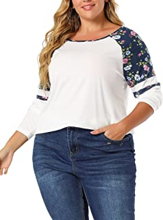 Agnes Orinda Plus Size T Shirt for Women Retro Floral Stretch Contrast Panel Basic Top