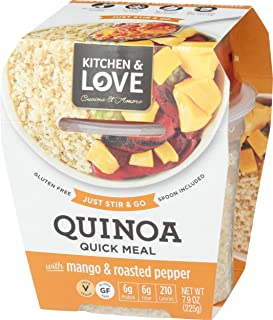 Kitchen & Love Mango & Roasted Peppers Quinoa Quick Meal 6-Pack | Vegan, Gluten-Free, Ready-to-Eat, No Refrigeration Required