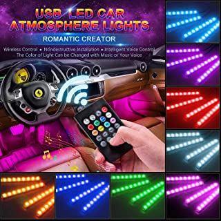 Car LED Light Strip MUENING-RGB 4pcs 48 LED Multicolor Music Car Interior Lights Under Dash Lighting Waterproof Kit With Sound Active Function and RF Remote Control DC 12V