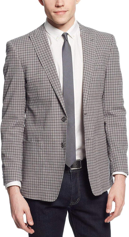 Andrew Marc Gray Plaid Half Lined Stretch Cotton Seersucker Blazer Sportcoat