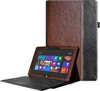 [Corner Protection] Fintie Folio Case for Microsoft Surface RT/Surface 2 10.6 inch Tablet Slim Fit with Stylus Holder (Does Not Fit Windows 8 Pro Version) - Brown/Black