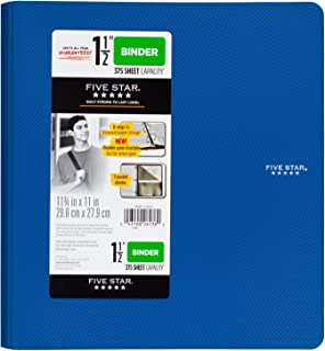 Five Star 1-1/2 Inch 3 Ring Binder, Plastic, Color Selected for You (26136)