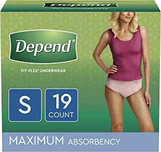 Depend FIT-FLEX Incontinence Underwear for Women, Disposable, Maximum Absorbency, Blush, 19 Count, Small (Pack of 1)