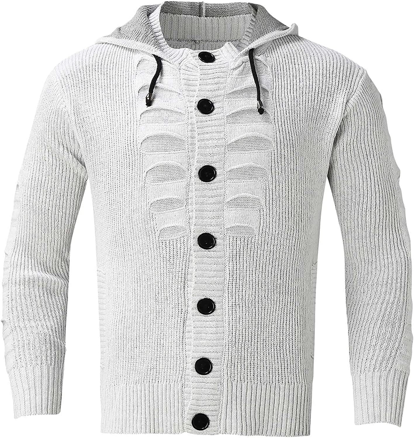 Huangse Men's Autumn Winter Button Down Knit Hoodie Fashion Ripped Jacket Long Sleeve Cardigan Sweaters