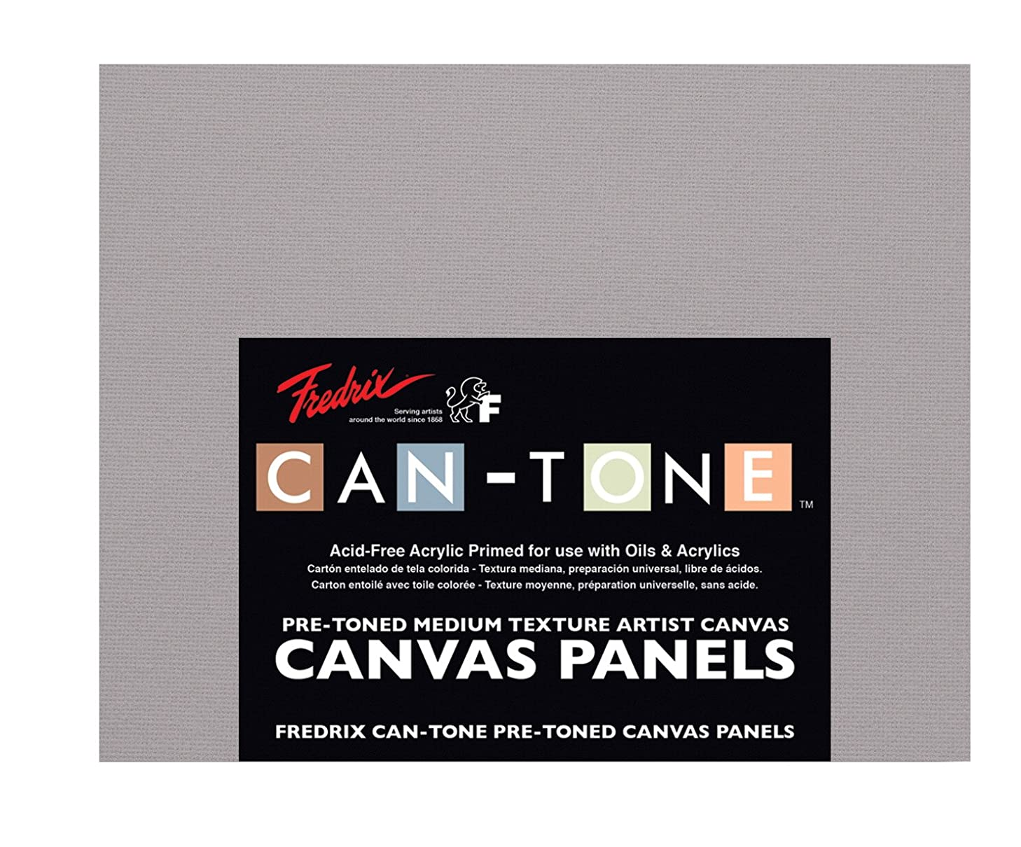 Fredrix Can-Tone Canvas Panels, Tara Gray, 8 x 10 Inches, Pack of 3