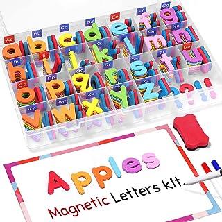 Gamenote Classroom Magnetic Alphabet Letters Kit 208 Pcs with Double-Side Magnet Board - Foam Alphabet Letters for Prescho...