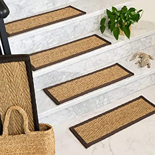 Natural Area Rugs 100% Natural Fiber Beach, Seagrass Sage, Handmade Stair Treads Carpet Set of 13 (9