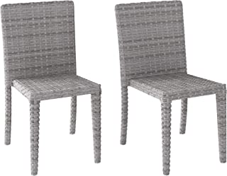 CORLIVING PCL-262-C Brisbane Patio Dining Chairs, Blended Grey Weave