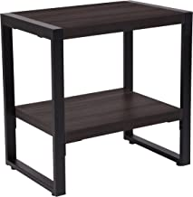 Flash Furniture Thompson Collection Charcoal Wood Grain Finish End Table with Black Metal Frame, NAN-JH-1733-GG