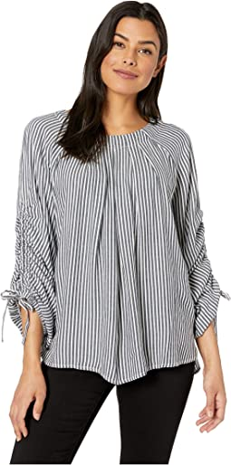 Bhadra Stripe Shirred Tied Sleeves Blouse