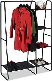 Relaxdays Portant, Porte-Manteaux, Tringle à vêtements, 5 Surfaces de Rangement, entrée, HxlxP: 150x100x40 cm, Noir, Fer, ...