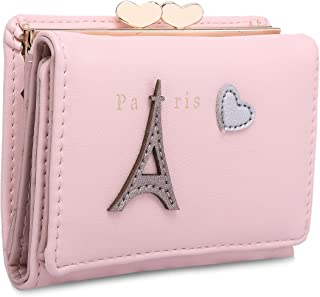 moca Cute EiffeL short mini wallet Purse for Womens Girls Ladies Short Mini Small Clutch Wallet cash card coin holder purse for womens Women's Ladies Girls