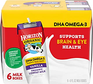 Best Horizon Organic Shelf-Stable 1% Lowfat Milk Boxes with DHA Omega-3, Vanilla, 8 oz., 6 Pack (Pack of 3) Review