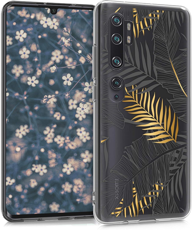 kwmobile Carcasa Compatible con Xiaomi Mi Note 10 / Note 10 Pro - Funda de TPU Palmeras en Dorado/Gris/Transparente