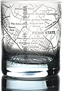 Greenline Goods Whiskey Glasses – Etched Penn State Campus Map   10 Oz Tumbler Gift (Single Glass) - Game Day Old Fashioned Rocks Glasses