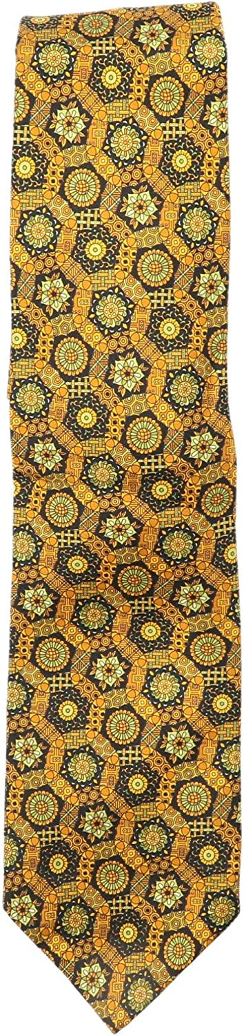 Italo Ferretti Men's Dodecahedron and Circle Patterned Silk Necktie