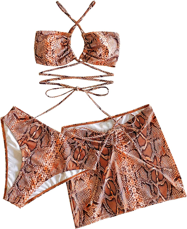 SweatyRocks Women's 3packs Snakeskin Cross Neck Bikini Swimsuit and Beach Skirt