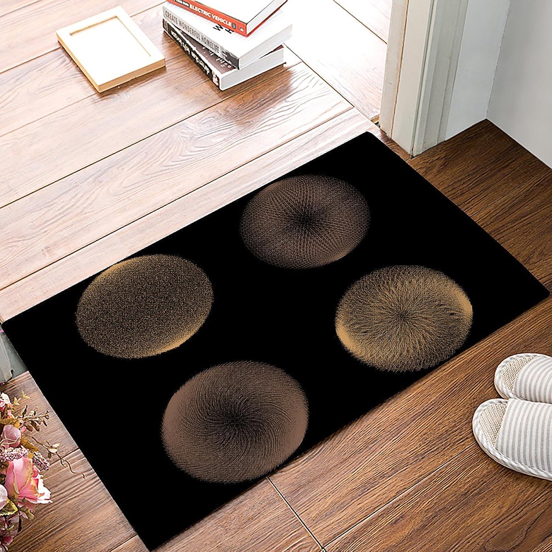 Non-Slip Door Mat Entrance Rug Rectangle Absorbent Moisture Floor Carpet for Indoor Outdoor Stereoscopic Circle Pattern, Black gold Doormat 20x31.5 inch