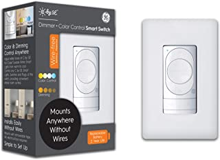 C by GE Wire-Free Dimmer + Color Control Smart Switch, Bluetooth, Battery Powered Smart Switch, Removable, White, 1-Pack