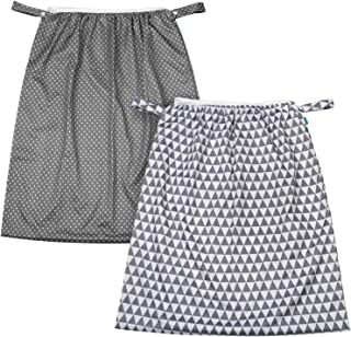 Teamoy Reusable Pail Liner for Cloth Diaper/Dirty Diapers Wet Bag (Pack of 2), Gray Triangle+Gray Dots