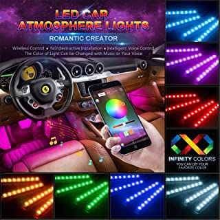 wsiiroon Car LED Strip Lights, 4pcs 48 LED Bluetooth App Controller Interior Lights Multi Color Music Car Strip Light Unde...