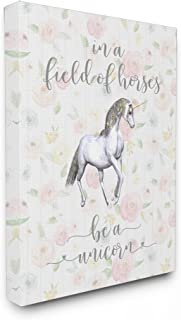 Stupell Home Décor Be A Unicorn Floral Cursive Typography Oversized Stretched Canvas Wall Art, 24 x 1.5 x 30, Proudly Made in USA
