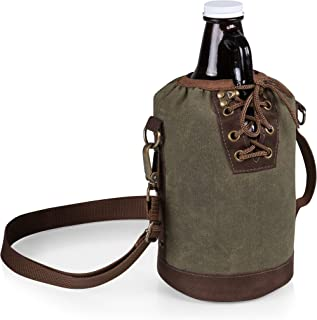 Legacy-A Picnic Time Brand Amber Glass with Canvas Lace up Growler Tote, 64-Ounce, Khaki Green