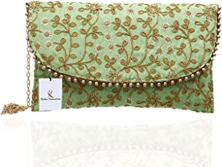 Kuber Industries Women's Handcrafted Embroidered Clutch Bag Purse Handbag for Bridal, Casual, Party, Wedding (Green) CTKTC...