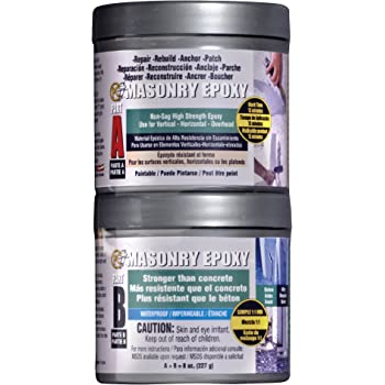 PC Products PC-Masonry Epoxy Adhesive Paste, Two-Part Repair, 8 oz in Two Cans, Gray 70079