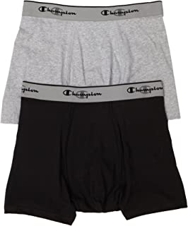Champion Men's Double Dry Activefit 2-Pack Trunk, Grey/Black, Small