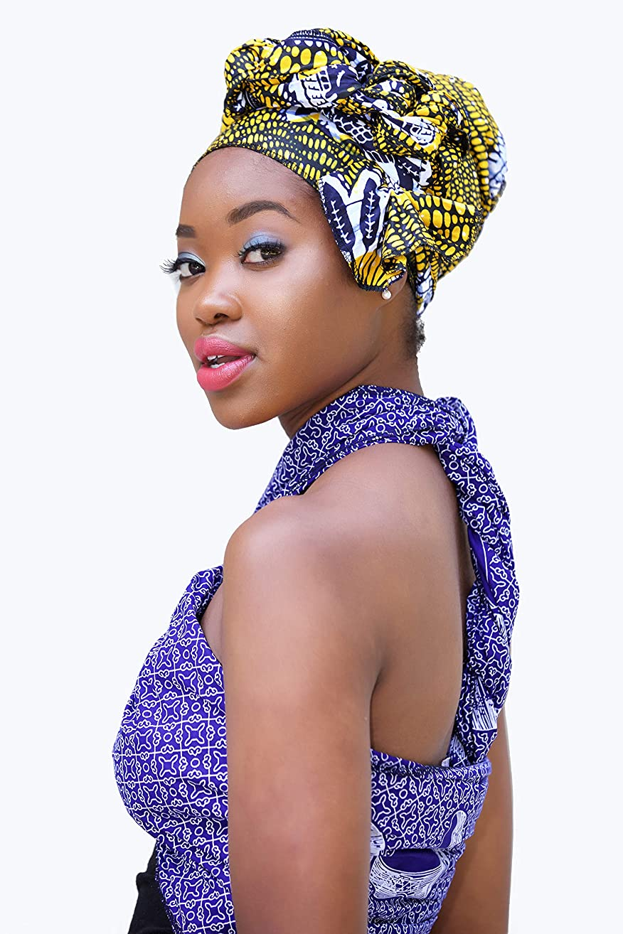 Headwrap/african print headwrap/turban / Headtie/ankara headscarf/African headtie/wax print headwrap/headscarf - yellow, blue and white