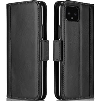 ProCase Google Pixel 4 XL Genuine Leather Case, Vintage Wallet Folding Flip Case with Kickstand Card Holders Magnetic Closure Protective Book Cover for Google Pixel 4 XL 2019 Release -Black