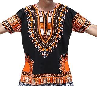 RaanPahMuang 明亮黑色棉质非洲 Dashiki 加大码衬衫正面无褶