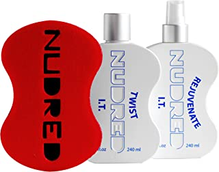The 'Starter' Twist I.T. 2 Bottle SET with RED Hair Sponge for Men / Women   The Original NUDRED Natural Hair Care System
