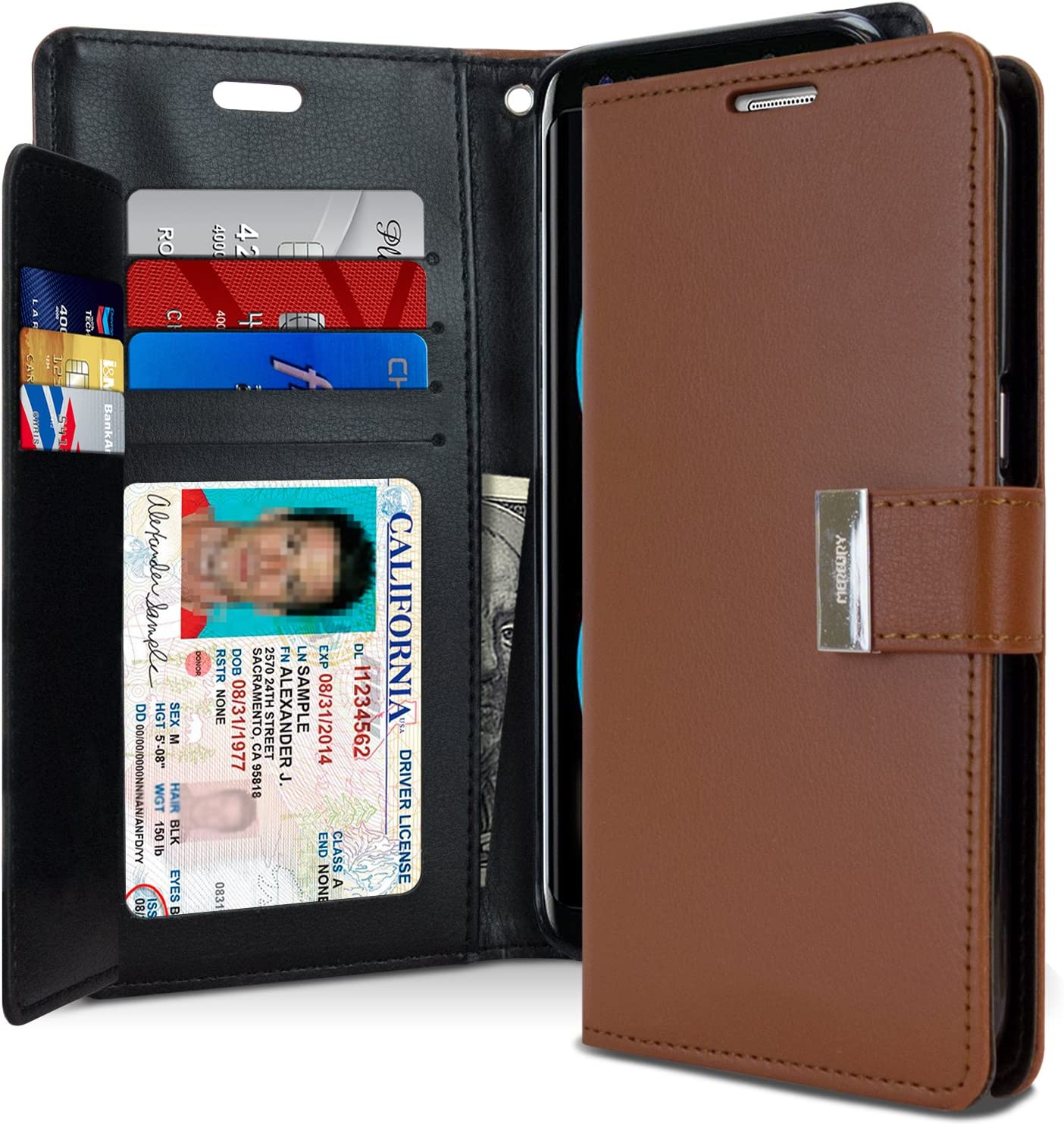 Goospery Rich Wallet for Samsung Galaxy S8 Plus Case (2017) Extra Card Slots Leather Flip Cover (Brown) S8P-RIC-BRN