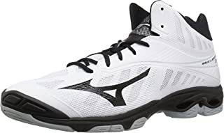 Mizuno Wave Lightning Z4 Mid Volleyball Shoes, White/Black, Men's 16 D US