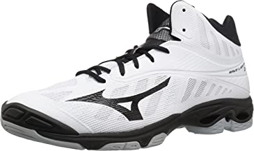 Mizuno Wave Lightning Z4 Mid Volleyball Shoes, White/Black, Men's 15 D US