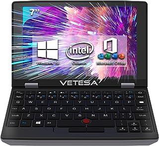 VETESA 2021発売 超小型ノートPC Windows10ノートパソコンOFFICE2019標準搭載タッチパネル付き ウェブカメラ付き テレワーク対応 7インチ液晶CPU:第9世代インテルCeleron メモリ:8GB/爆速SSD使用安心...