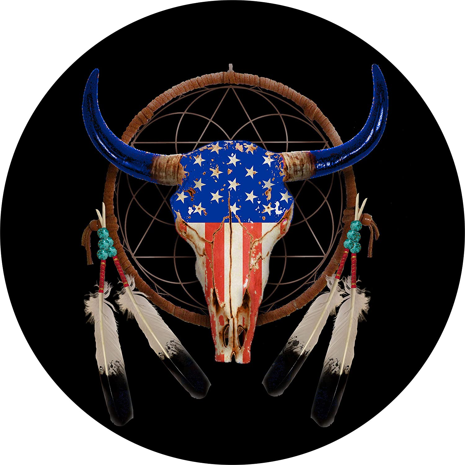 Max 43% OFF Dreamcatcher Americana Cow Skull and US Tire Cover Spare Flag S Ranking TOP17